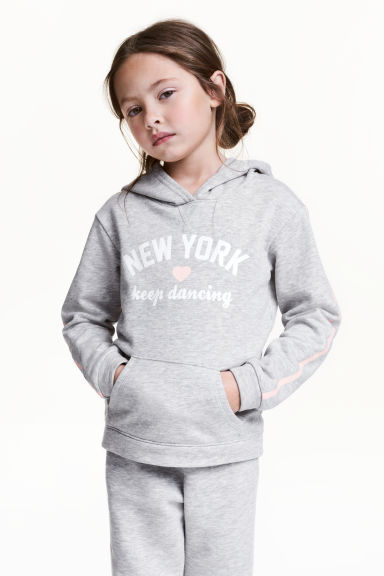 Printed hooded top - Grey/New York -  | H&M