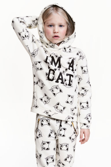 Printed hooded top - Natural white/Cats - Kids | H&M 1