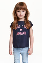 Printed jersey top - Dark blue - Kids | H&M CN 1
