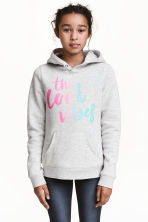 Hooded top with a text motif - Light grey marl -  | H&M 1