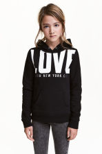 Hooded top with a text motif - Black/New York -  | H&M 1