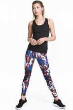 Sports tights - Neon pink/Patterned - Ladies | H&M 1