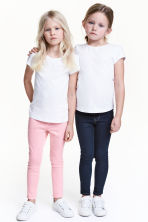 Lot de 2 leggings en denim - Bleu denim foncé/rose - ENFANT | H&M FR 2