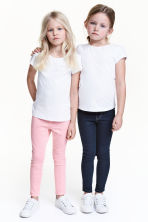 Lot de 2 leggings en denim - Bleu denim foncé/rose - ENFANT | H&M FR 1