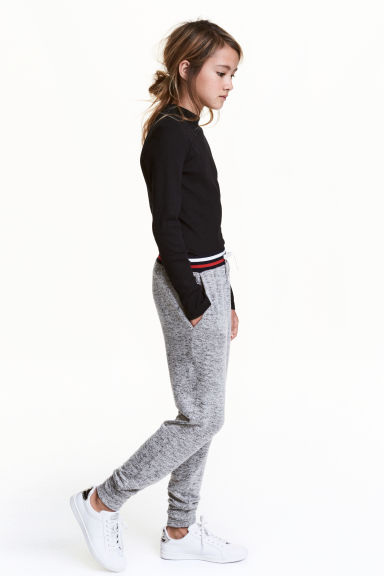Fine-knit joggers - Grey marl/Red -  | H&M CN 1