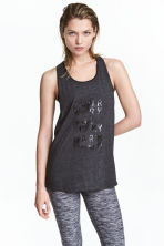 Sports vest top - Dark grey marl - Ladies | H&M CN 1