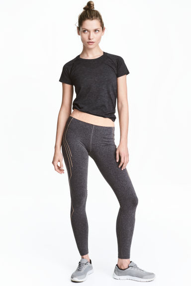 Seamless sports tights - Dark grey marl - Ladies | H&M CN 1