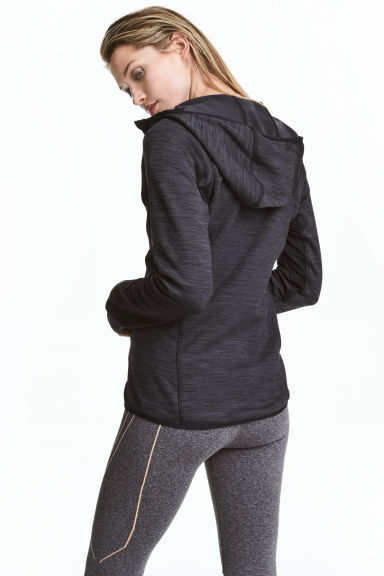 Fleece jacket with a hood - Dark grey marl - Ladies | H&M CN 1