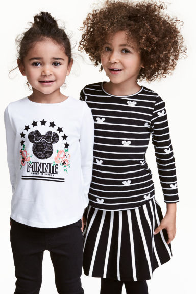 2-pack long-sleeved tops - Black/Minnie Mouse - Kids | H&M 1