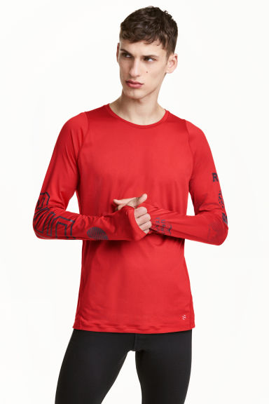 Long-sleeved running top - Red - Men | H&M