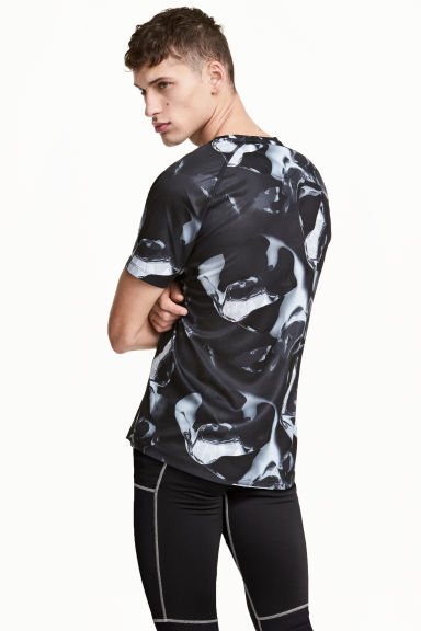 Short-sleeved running top - Black/White/Patterned - Men | H&M 1