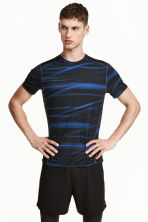 Short-sleeved sports top - Dark blue/Patterned - Men | H&M 1