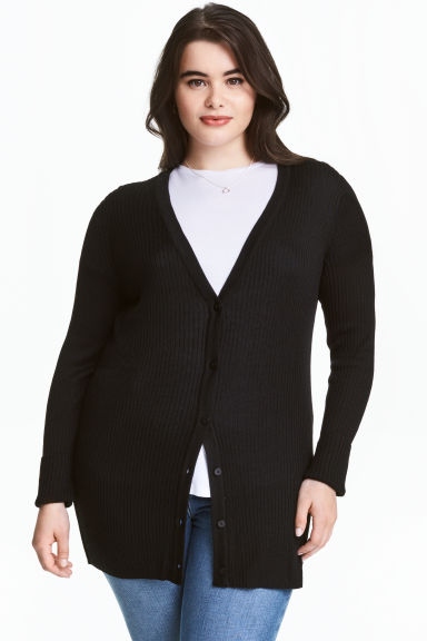 H&M+ Rib-knit cardigan - Black - Ladies | H&M