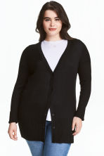 H&M+ Rib-knit cardigan - Black - Ladies | H&M 1