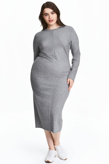 H&M+ Ribbed dress - Grey marl - Ladies | H&M CA 1