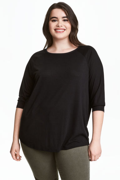 HM+ Top with raglan sleeves - Black - Ladies | H&M CN 1