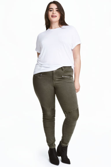 H&M+ Biker trousers - Khaki green - Ladies | H&M CN 1