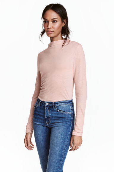 Turtleneck top - Powder pink marl - Ladies | H&M CN 1
