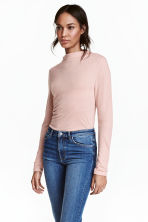 Turtleneck top - Powder pink marl - Ladies | H&M 1