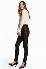Trousers High waist - Black/Coated - Ladies | H&M CN 1