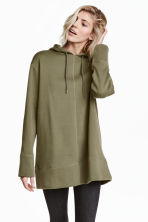 Oversized hooded top - Khaki green - Ladies | H&M 1