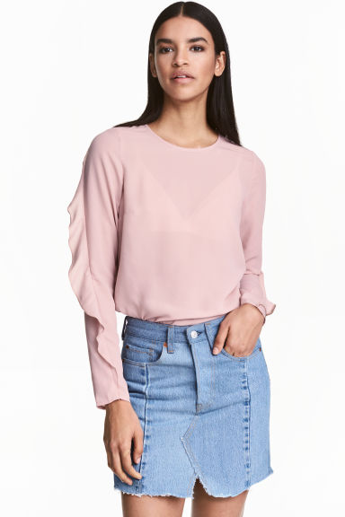 Blouse with frills - Old rose - Ladies | H&M 1
