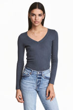 Rib-knit jumper - Storm blue - Ladies | H&M 1