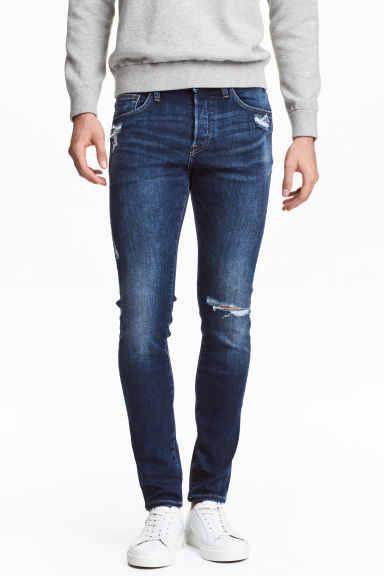Skinny Low Trashed Jeans - Mörk denimblå - Men | H&M FI 1