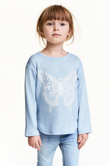 Jumper with a print motif - Light blue/Butterfly - Kids | H&M CN 1