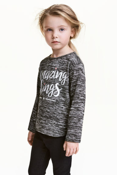 Jumper with a print motif - Black marl - Kids | H&M CN 1