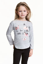 Jumper with a print motif - Grey/Butterflies -  | H&M CN 1
