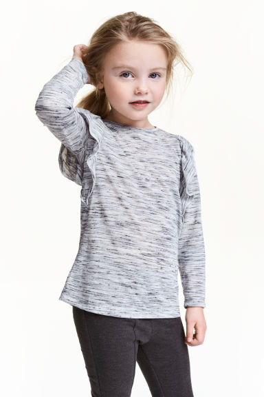 Top with frills - Grey marl - Kids | H&M