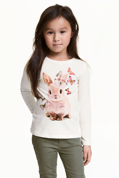 Long-sleeved top - White/Rabbit - Kids | H&M 1