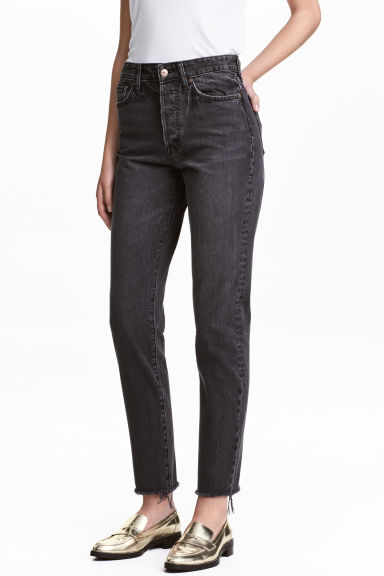 Vintage High Cropped Jeans - Black denim - Ladies | H&M