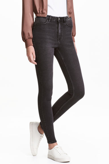 Super Skinny High Jeans - Black washed out - Ladies | H&M CA