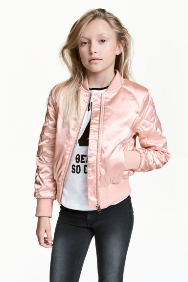 Padded bomber jacket - Powder pink - Kids | H&M CN 1