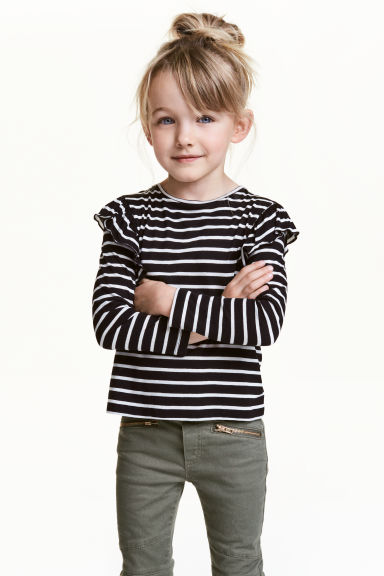 Top with frills - Black/White/Striped - Kids | H&M CN 1