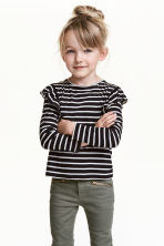 Top with frills - Black/White/Striped - Kids | H&M 1