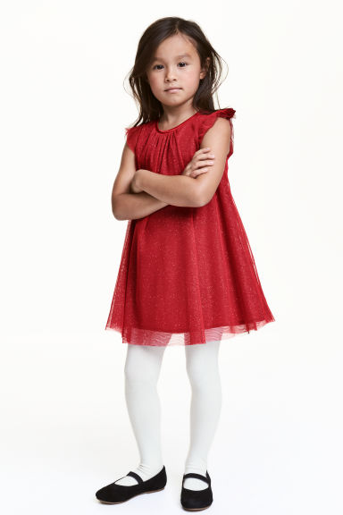 Tulle dress with glitter - Red - Kids | H&M CN