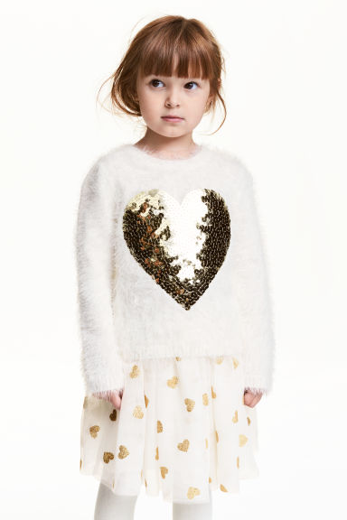 Fluffy sequined jumper - White/Heart - Kids | H&M CN 1