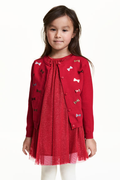 Fine-knit sequined cardigan - Red/Bow - Kids | H&M CN