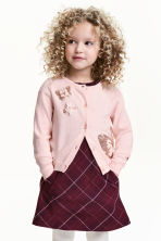 Fine-knit sequined cardigan - Light pink/Butterflies - Kids | H&M CN 1
