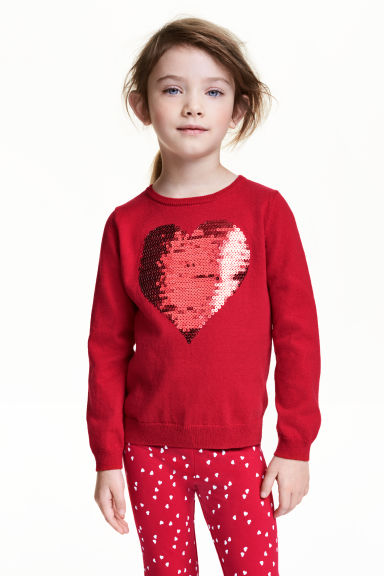 Fine-knit jumper - Red/Heart -  | H&M CN