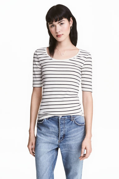 Jersey top - White/Striped - Ladies | H&M 1