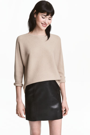 Rib-knit jumper - Light beige - Ladies | H&M