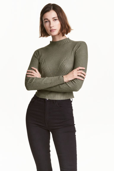 Ribbed jumper - Khaki green - Ladies | H&M 1
