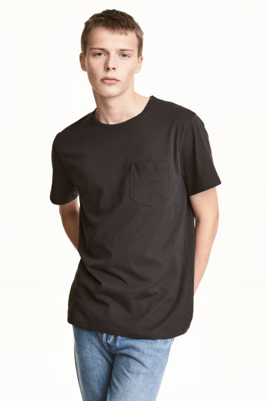 T-shirt with a chest pocket - Black - Men | H&M