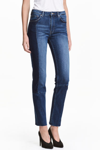 Slim Regular Patchwork Jeans - Mörk denimblå -  | H&M FI 1