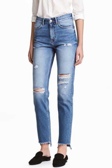 Straight Regular Relaxed Jeans - Azul denim trashed - MUJER | H&M ES 1