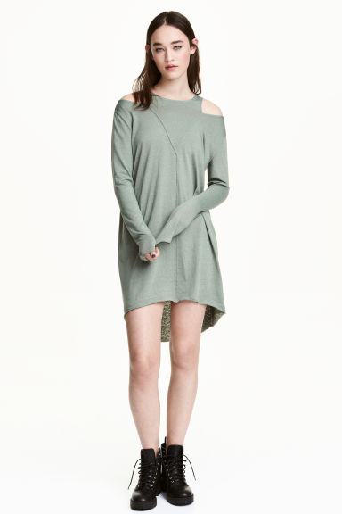 Cold shoulder dress - Khaki green - Ladies | H&M 1